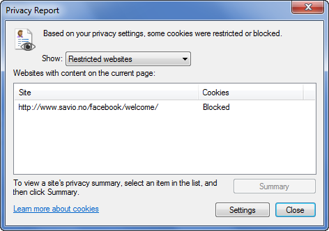 Internet Explorer - Cookies blocked